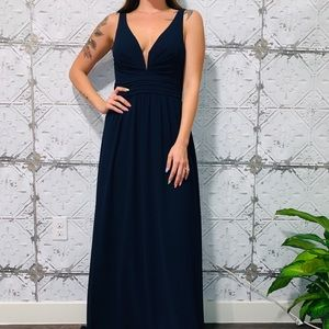 LULUS BLUE V-NECK CHIFFON DRESS